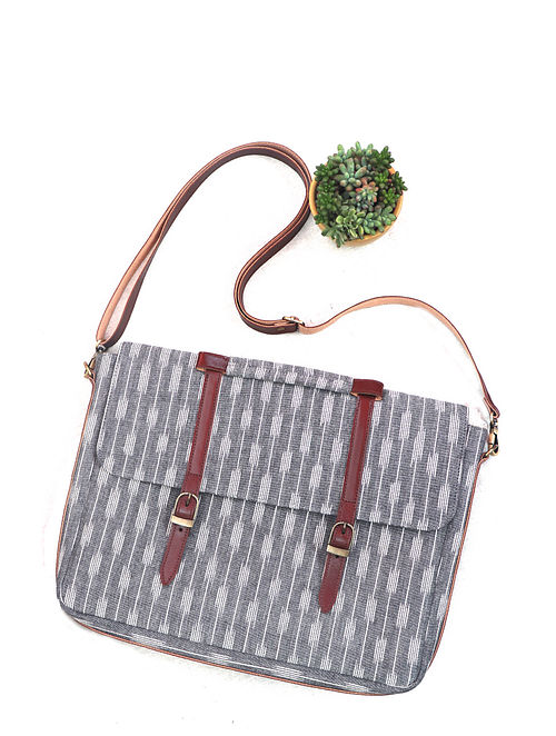 Grey Cotton and Leather Ikat Laptop Bag