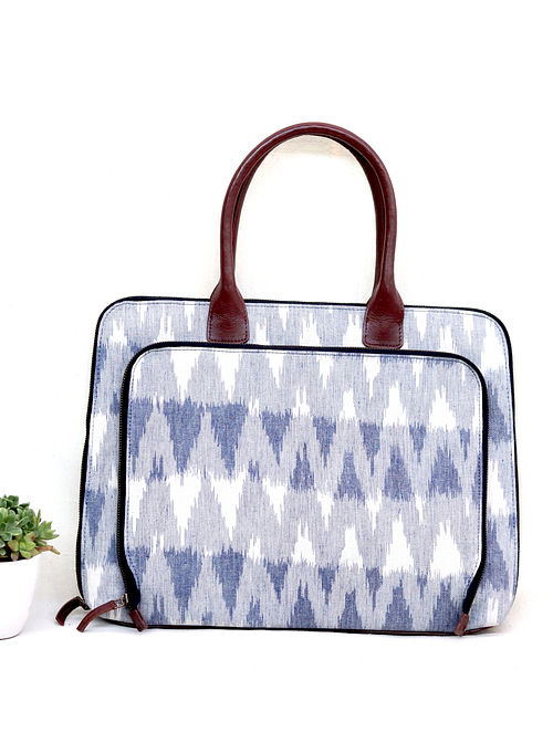 White Grey Cotton and Leather Ikat Laptop Bag