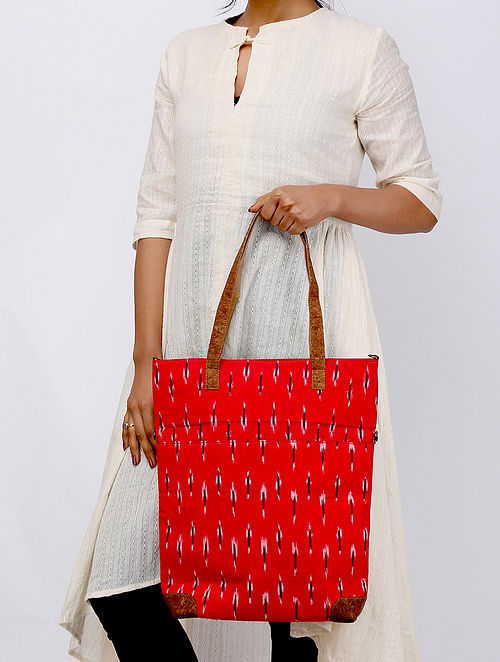 Red Ikat Weave Leather Sling Cum Tote Bag