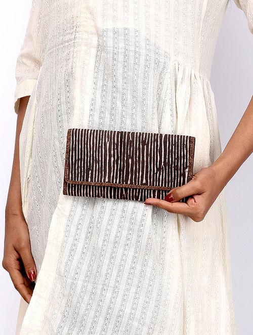 Brown Dabu Print Canvas Leather Wallet