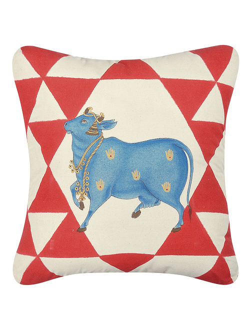 Red-Blue Hand-painted Cotton Cushion Cover with Cow Motif (16in x 16in)