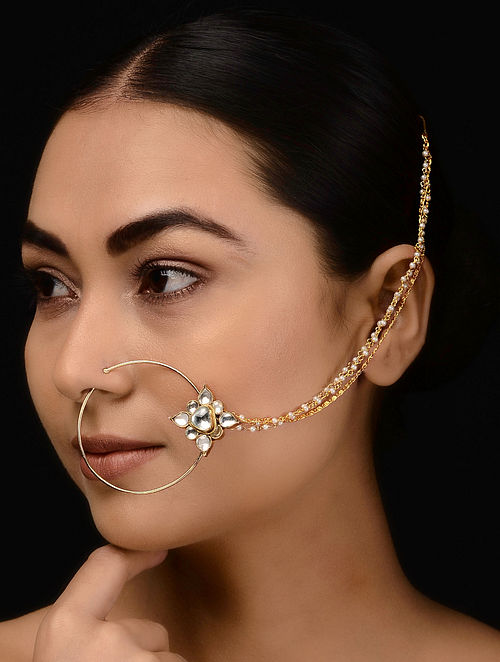 Kundan-inspired Gold Tone Silver Nath with Pearls