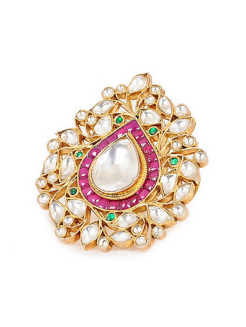 Pink-Green Kundan-inspired Gold Tone Adjustable Silver Ring
