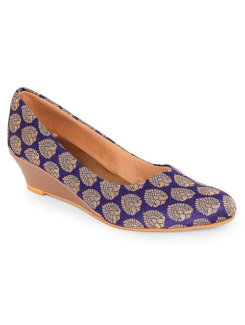 Purple-Gold Handcrafted Silk Wedges