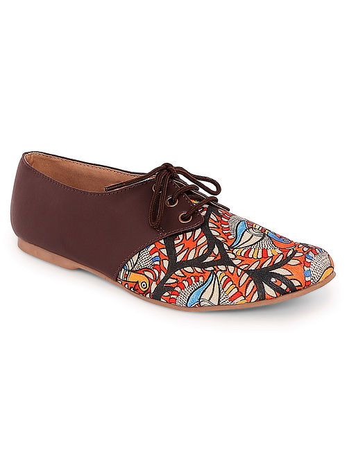 Brown-Multicolored Handcrafted Canvas Oxford Shoes