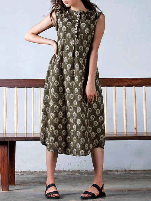 Brown-Beige Natural Dyed Block Printed Cotton Shift Dress