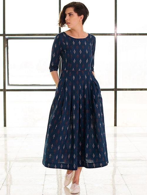 Blue Box Pleated Handloom Ikat Cotton Dress