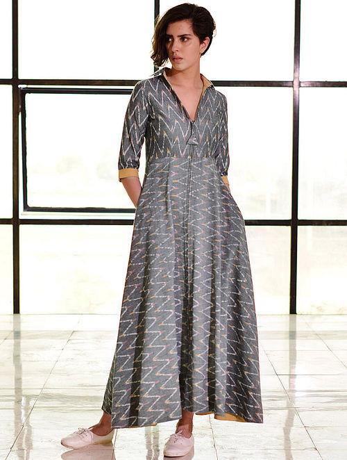 6e7a866fa Buy Grey Ikat Handloom Cotton Zipper Maxi Dress Online at Jaypore.com