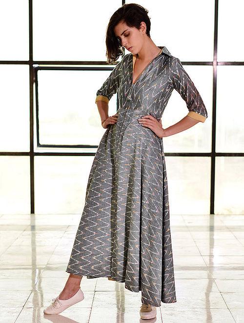 da5334fd7c Buy Grey Ikat Handloom Cotton Zipper Maxi Dress Online at Jaypore.com