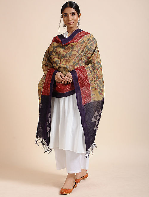 Multicolor Hand Painted Kalamkari Ikat Cotton Dupatta
