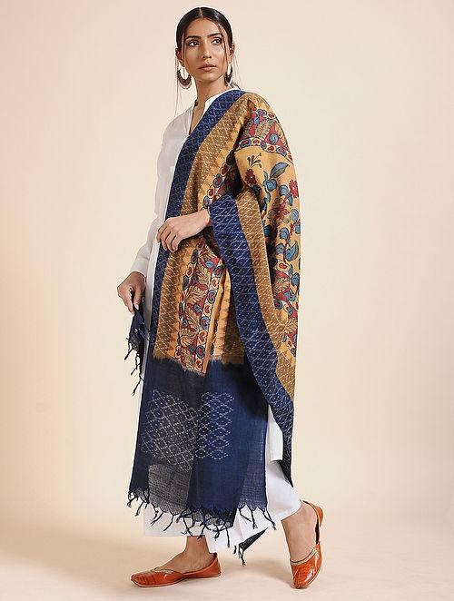Multicolor Hand Painted Kalamkari Ikat Cotton Dupatta