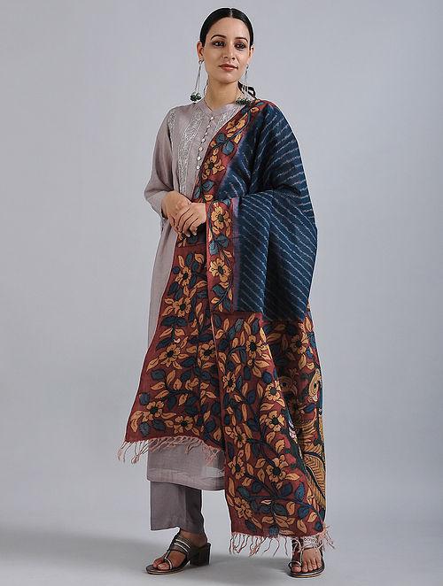 Blue-Red Hand Painted Kalamkari Ikat Cotton Dupatta