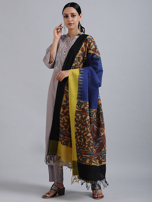 Blue-Black Hand Painted Kalamkari Ikat Cotton Dupatta