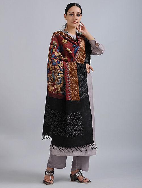 Red-Black Hand Painted Kalamkari Ikat Cotton Dupatta