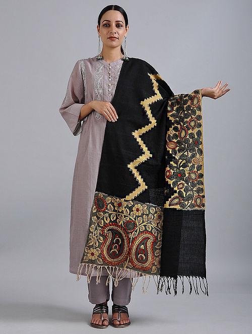Black-Grey Hand Painted Kalamkari Ikat Cotton Dupatta