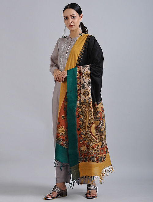 Black-Yellow Hand Painted Kalamkari Ikat Cotton Dupatta