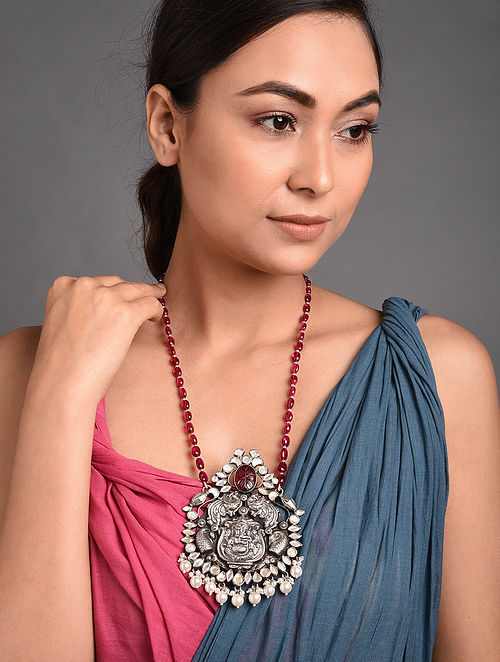 Maroon Beaded Tribal Kundan Silver Necklace with Pearls