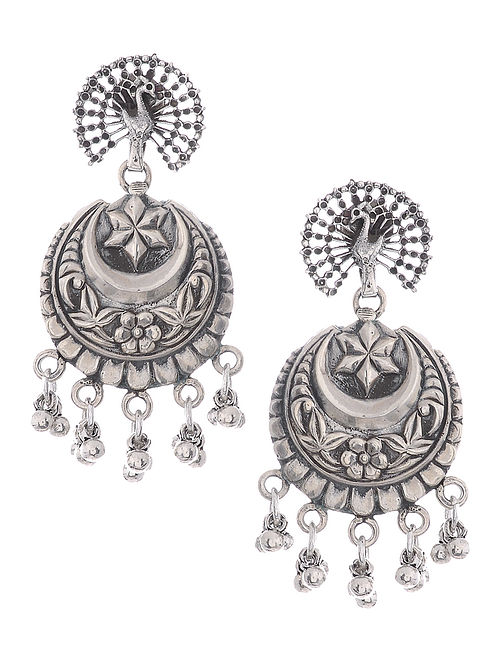 f5897ed30 Buy Tribal Silver Earrings with Peacock Design Online at Jaypore.com