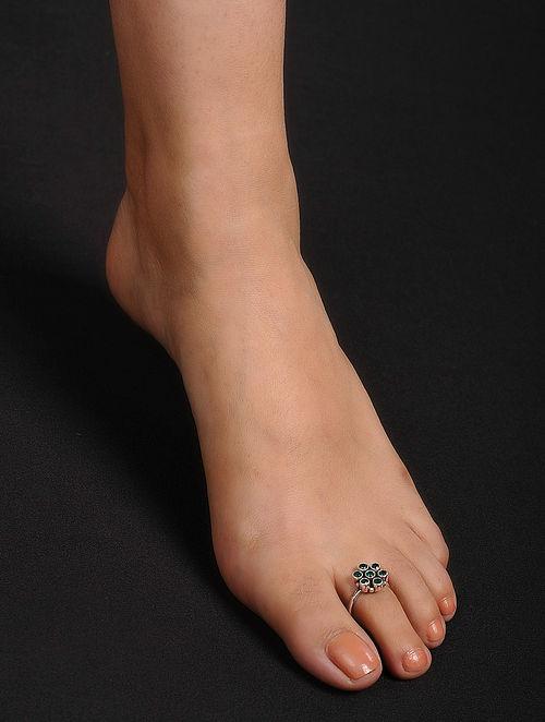 5fbde0146d8 Buy Green Adjustable Silver Toe Rings (Set of 2) Online at Jaypore.com