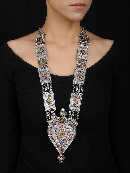 Multicolored Glass Vintage Silver Necklace