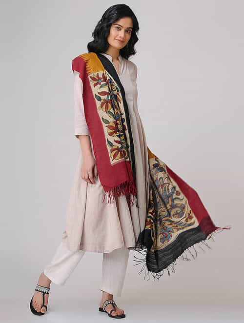 53c41819d Buy Beige-Red Hand-painted Kalamkari Ikat Cotton Dupatta Online at ...