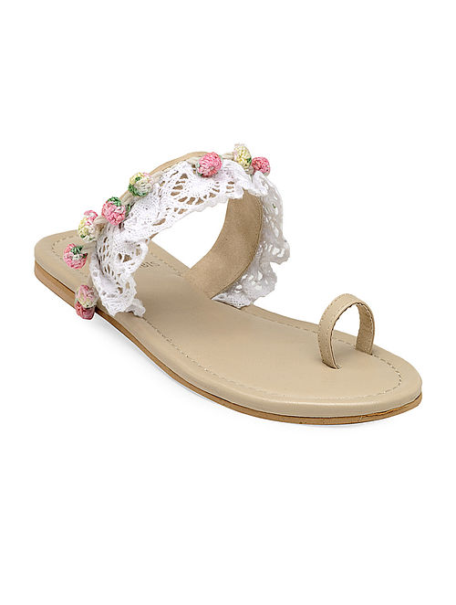 Beige Hand-Crafted Sandals with Embellishments