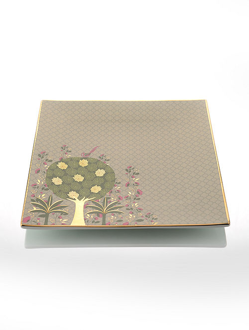 Brown Ceramic and 24-karat Gold Plated Square Platter (9.5in x 9.5in)