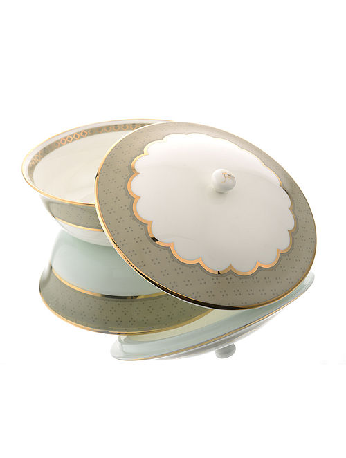 White and Brown Ceramic and 24-karat Gold Plated Serving Bowl with Lid (Dia - 8in, H - 4.5in)