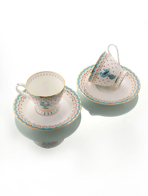 Dasara White-Multicolor Ceramic and 24-karat Gold Plated Tea Cups with Saucers (Set of 2)