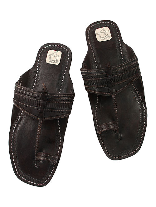 Black Hand-Crafted Leather Kolhapuri Flats for Men