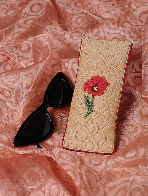Beige Quilted Thread-Embroidered Cotton Silk Spectacle Case