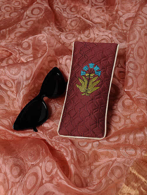 Red Quilted Thread-Embroidered Cotton Silk Spectacle Case