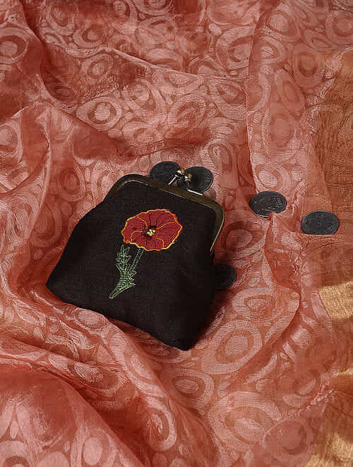 Black Quilted Thread-Embroidered Cotton Silk Coin Purse