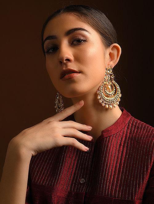 Blue-Red Enameled Diamond Polki Gold Earrings