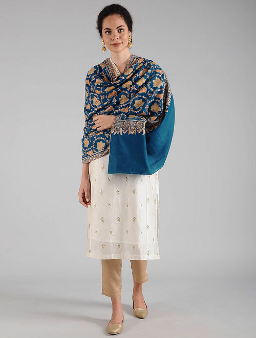 Blue Sozni Embroidered Pashmina Shawl