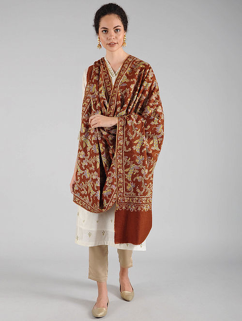 Brown Sozni Embroidered Pashmina Shawl
