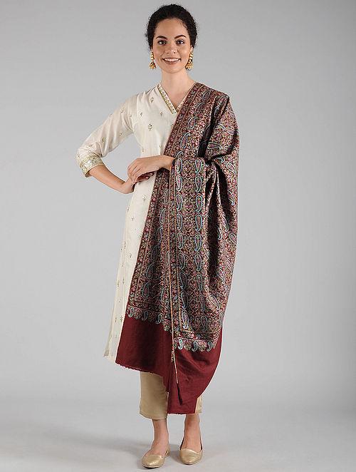 Red Sozni Embroidered Pashmina Shawl