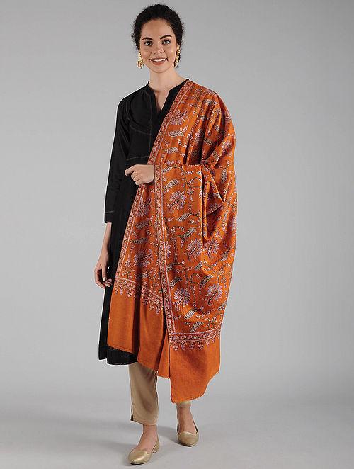 Orange Sozni Embroidered Pashmina Shawl