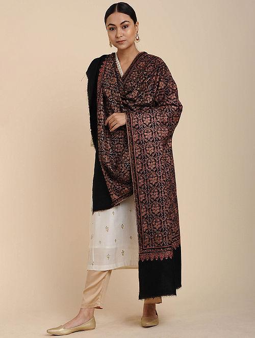 Black-Pink Sozni Embroidered Pashmina Shawl