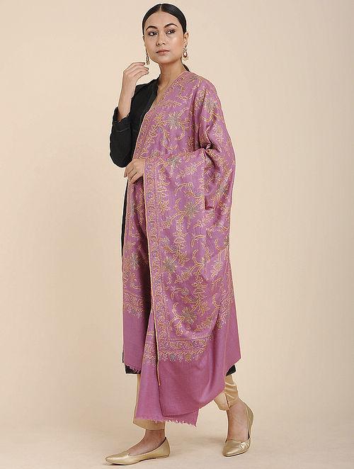 Pink Sozni Embroidered Pashmina Shawl