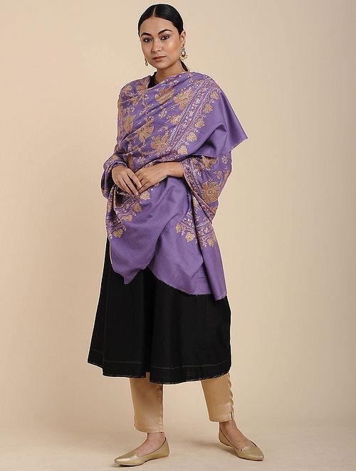 Purple Sozni Embroidered Pashmina Shawl