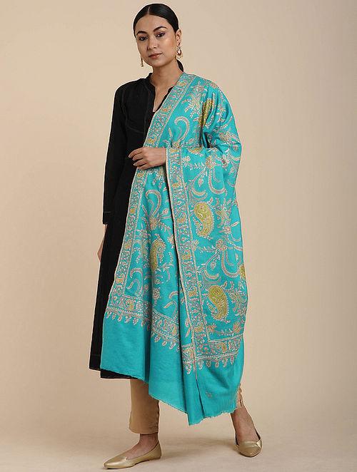 Turquoise Sozni Embroidered Pashmina Shawl