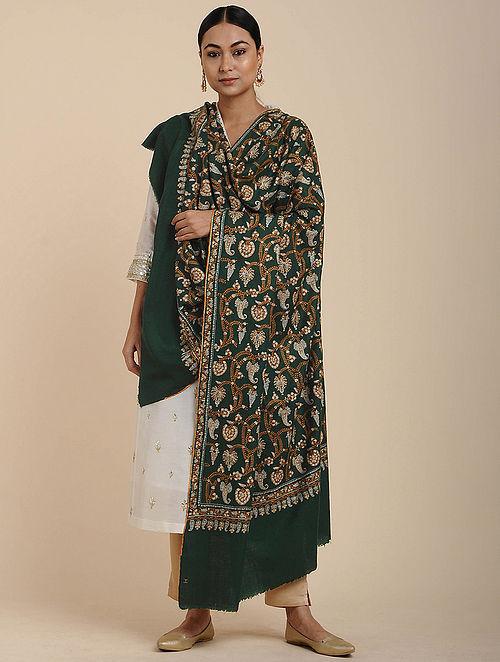 Green Sozni Embroidered Pashmina Shawl