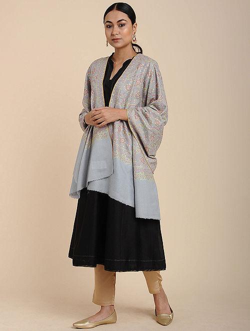 Grey Sozni Embroidered Pashmina Shawl