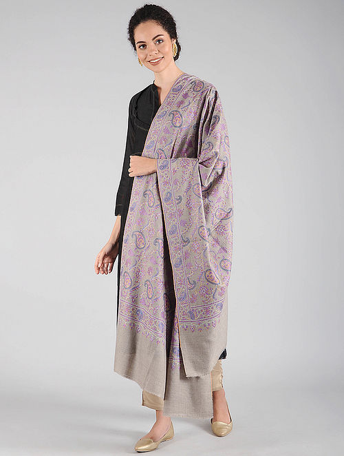 Grey-Purple Sozni Embroidered Pashmina Shawl