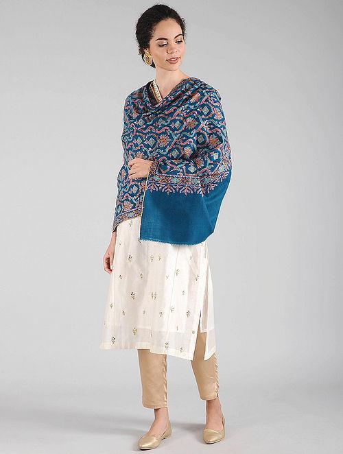 Blue Sozni Embroidered Pashmina Shawl