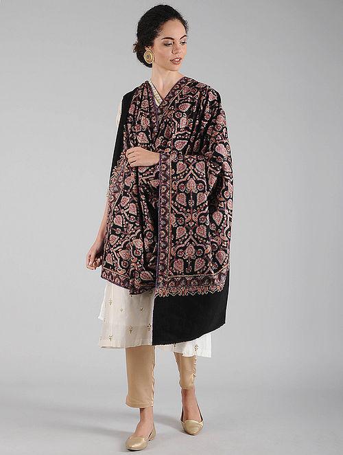 Black Sozni Embroidered Pashmina Shawl