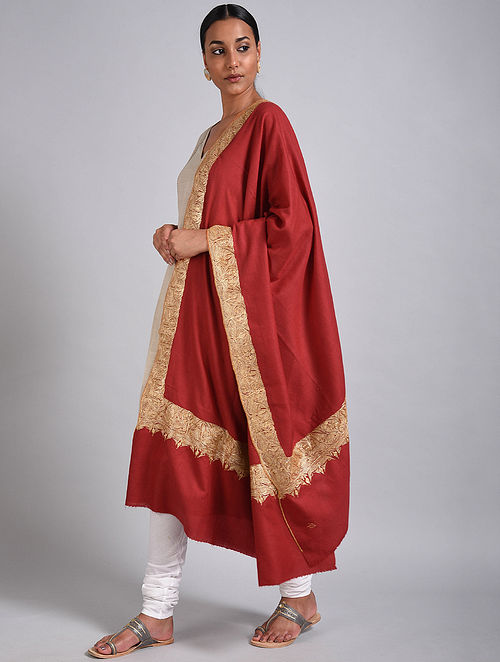 Red Tilla Embroidered Pashmina Shawl