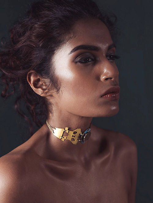 Turquoise Gold Brass and Copper Oxidised Choker Necklace