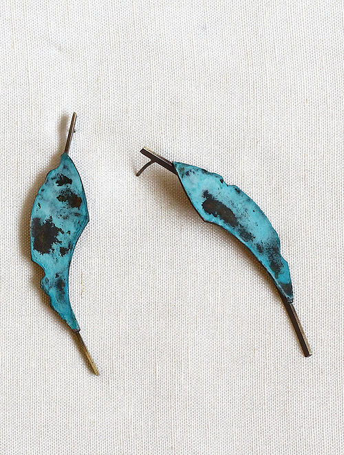 Turquoise Brass and Copper Oxidised Stud Earrings